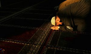 A Muslim prays in a mosque in Maykop, th